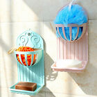 Plastic Suction Double Layer Cup Soap Boxes Wall-Mounted Soap Dishes Holder Rack