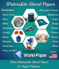 Waterslide Decal Paper,  You Choose White or Clear,   Inkjet or Laser - 10 Sheets
