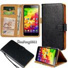 Black Flip Cover Stand Wallet Leather Case For Various ZTE Smartphones + Strap