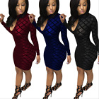 Women Sexy Bandage Bodycon Long Sleeve Slim Cocktail Evening Party Mini Dress