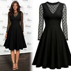 Women Elegant Polka Dot Business Cocktail Party Pleated School Flare Swing Dress