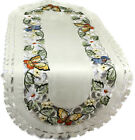 Table Runner, Doily, Mantel Scarf with Multi-Color Butterfly on Ivory Material