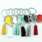 Внешний вид - Monogrammed Round Disc Blank Leather Tassel Keychain Personalized Accessories