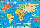 KIDS ANIMAL MAP OF THE WORLD EDUCATIONAL SCHOOL POSTER PRINT A4 A3 CHILDRENS
