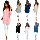 Women Casual Loose Long Sleeve Sweater  Hot V-neck Knitwear Pullover Jumper Top