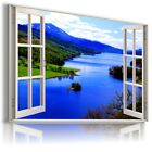 RIVER OF LIFE MOUNTAINS 3D Window View Canvas Wall Art Picture Large SIZES W273