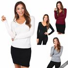 Womens Ladies Classic V Neck Plain Smart Casual Jumper Sweater Top Pullover Work