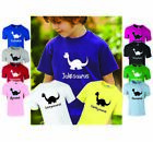 PERSONALISED PRINTED KIDS DINOSAUR T-SHIRT ANY NAME - BIRTHDAY GIFT BOYS GIRLS