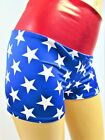 Blue and white star print Shorts Spandex Wonder woman super hero Red waist