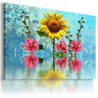 SUNFLOWERS YELLOW SUMMER FLOWER FIELDS Canvas Wall Art Picture Large FL35 X