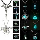 Vintage Silver Glow In The Dark Cross Dragon Pendant Necklace Luminous Jewelry image