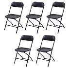 5 Pack Portable Plastic Chairs Folding Commercial Stackable Wedding Black