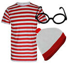 T SHIRT SHORT SLEEVE RED WHITE STRIPE FANCY DRESS SET WHERE'S WALLY BOOK WEEK