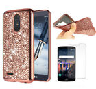 For LG Stylus 3 / Stylo 3 Plus Bling Shockproof Case Cover + Tempered Glass Film