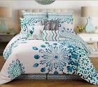 Peacock Feathers Teal Blue White  9Pc QUEEN or KING size Comforter Bedding Set