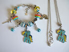 Girls Kids Bead Bracelet Necklace, My Little Pony Rainbow Dash Charm FREE Bag K5