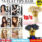 "7A Grade Double Drawn 18"" 1g Flat Tip Hair Extensions 100% Remy Human Hair UK"