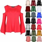 Womens Ladies Cold Cut Shoulder Peplum Ruffle Bell Flared Frill Sleeve Swing Top