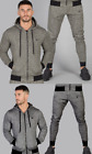 Intense Mens Tracksuit Slim Fit Gym Fitness Top Pant Hooded Green Grey Suit New