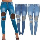 Womens Ladies Fish Net Denim Skinny Pants Trouser Distressed Ripped Front Jeans