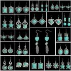 Fashion Tibetan Silver Vintage Turquoise Ear Hook Drop/Dangle Earrings Jewelry image