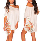 Women Bandage Loose Hollow T-shirt Cascul Evening Sexy Party Cocktail Mini Dress