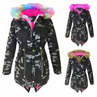 Girls Camouflage Rainbow Fur Hood Fishtail Jacket Kids Coat School Jackets 5-12