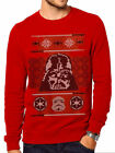 Star Wars Christmas Darth Vader Sweater - Official Festive Xmas Sweater Top-Red $18.43 USD