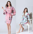NEW Women Silk Satin Short Kimono Robe Dress Gown Sexy Night Sleepwear Bathrobe
