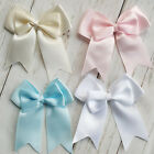 8 Satin Ribbon pre-tied Double Pinched bows Baby Pink Blue White Ivory 70mm Wide