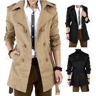 Men's Winter Double Breasted Trench Coat Long Jacket Overcoat Outwear Nice New