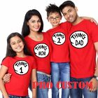 Thing one and Thing Two Thin Mom dad Family Matching funny cute T-Shirts S-4XL