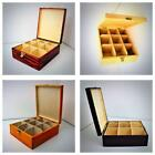 "Wooden Tea Box Chest 9 Compartments 2.5""x2.75""x3"" Tea Bag Storage Kitchen Caddy"