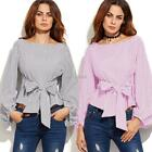 Women Fashion Front Tie Long Sleeve Loose Casual Shirt Blouse Tops K0E1