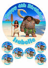 """PERSONALISED DISNEY MOANA - 1 x 7.5"""" & 6 x 2"""" ROUND EDIBLE TOPPERS CAKE CUPCAKE"""