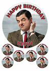 """PERSONALISED MR BEAN 7.5"""" & 6 x 2"""" ROUND EDIBLE TOPPERS CAKE CUPCAKE"""