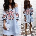 New Women Off Shoulder Floral Mini Dress Summer Tops Blouse Party Shirt Dress AY
