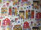 Flower Pedals Organic Cotton Fabric Bicycle House Carolyn Gavin Windham FQ/Metre