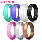Women Glitter Silicone Rubber Ring Band Wedding Gym Crossfit Lover Gift 7pcs Set