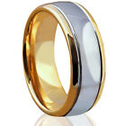 🔥 NEW Mens Tungsten Ring 18K Gold Silver Polished Dome Wedding Band Engagement image