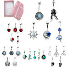 5x Mixed Style Stainless Steel Rhinestones Drop Belly Button Navel Ring Gift Box
