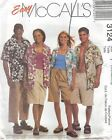 McCall's 3124 Unisex Shirts and Shorts in Two Lengths   Sewing Pattern