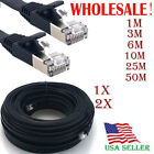 LOT CAT7 RJ45 Ethernet LAN Network Patch Cable Fr PS XBox Internet Router Black