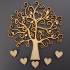 Wooden Tree Set inc. free hearts and Family word -Craft Blank Shape Xmas MDF FF