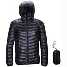US Packable Hoodie Style Down Jacket Men Winter Hooded Ultralight Outerwear Coat