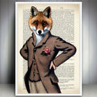 MR FOX ANIMAL ART PRINT VINTAGE ANTIQUE DICTIONARY BOOK PAGE STYLE WALL POSTER