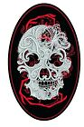 "4"" High Faux Leather Embroidered Patch with Ghost Skull Motif/Badge Biker Triker"