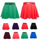 Womens Stretchy Belted Flippy Jersey Ladies Plain Flared Skater Skirt Plus Sizes