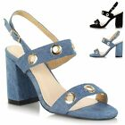 Ladies Strappy Mid Chunky Block Heel Slingback Open Peep Toe Sandals Shoes