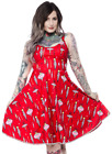 SOURPUSS VINTAGE ORNAMENTS SWING DRESS Holiday little pom-pom trim Retro Ins.